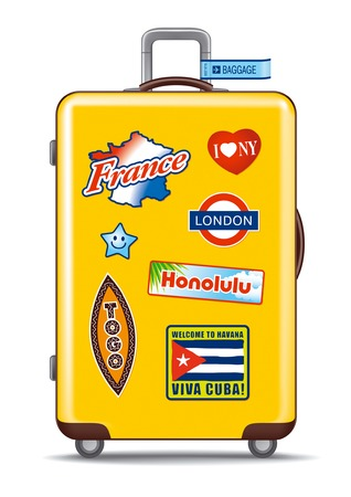 Suitcase for travel with stickers Vector