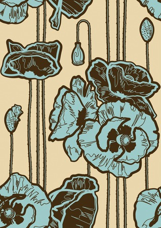 Seamless poppies background Vector