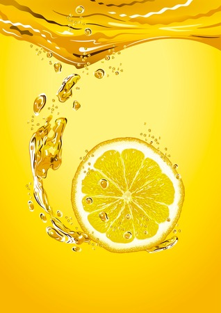 soda splash: Lemon slice with bubbles Illustration