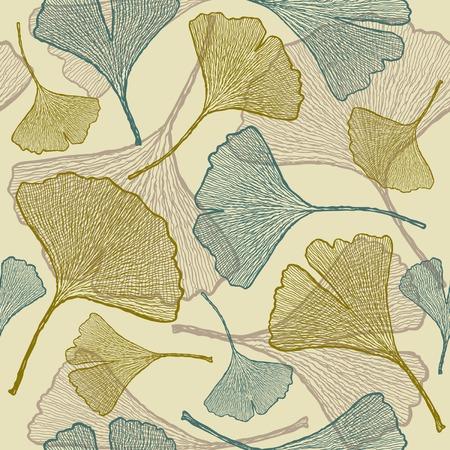 Seamless ginkgo background