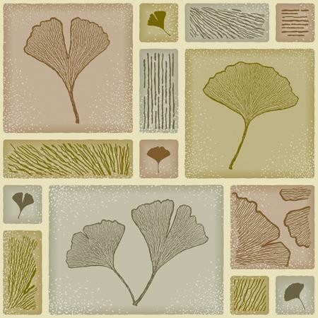 Seamless ginkgo pattern