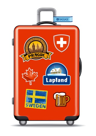 Red suitcase for travel with stickers