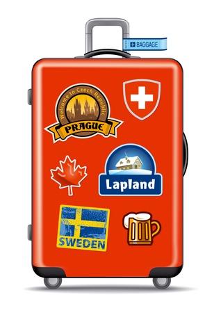 Rode koffer voor reizen met stickers