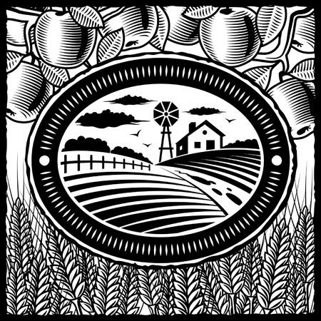 bauernhof: Schwarz und Wei� Retro farm  Illustration