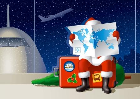 Santas Christmas travel Illustration