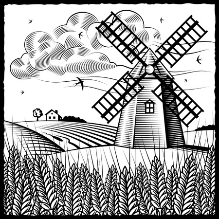 windmills: Landscape with windmill black and white Illustration