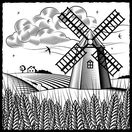windmolen: Landschap met wind molen zwart-wit