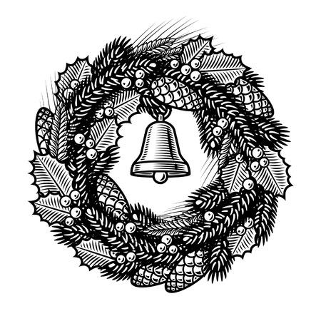 Retro Christmas wreath black and white