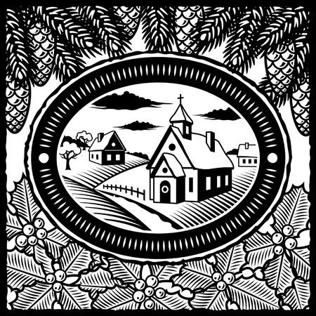 fir cone: Aldea de invierno retro blanco y negro