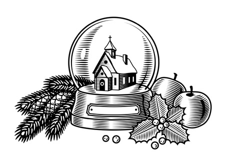 Christmas still life black and white Vector
