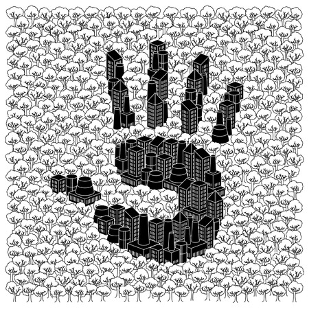 Save the forests concept: Hand print