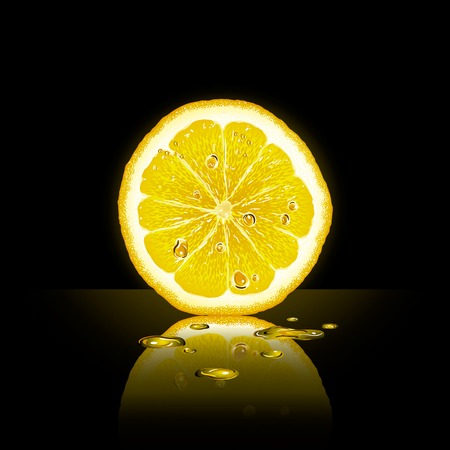 Lemon slice on black background
