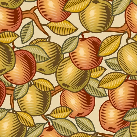 Seamless apple background Illustration