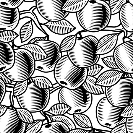 Seamless apple background black and white