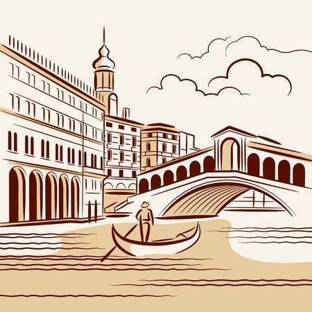 Paisaje veneciano Ilustración de vector