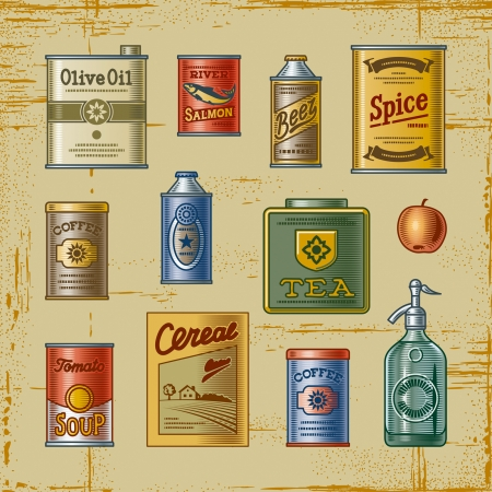 vintage bottle: Retro grocery set
