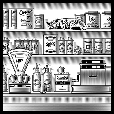 Retro store black and white Stock Vector - 6398561