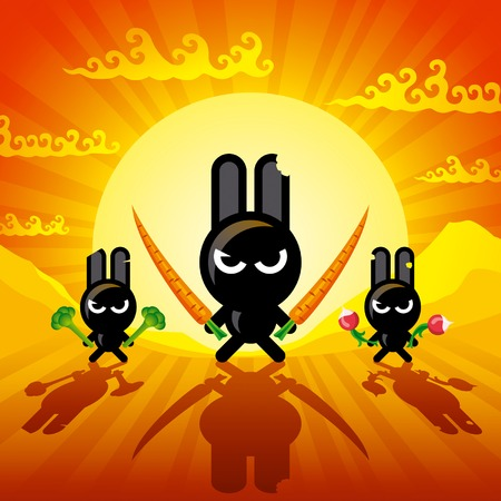 Ninja Rabbits Illustration