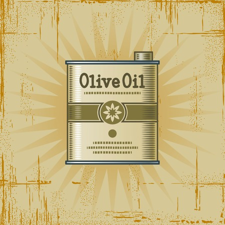 Retro Olive Oil Can Illustration