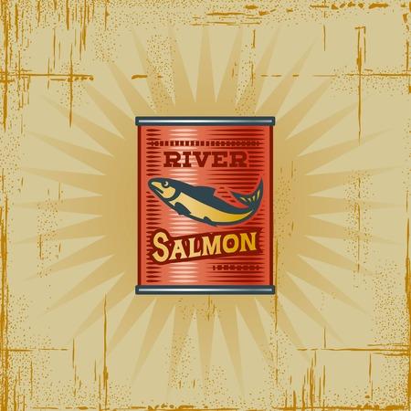 Retro Salmon Can Stock Vector - 6582326