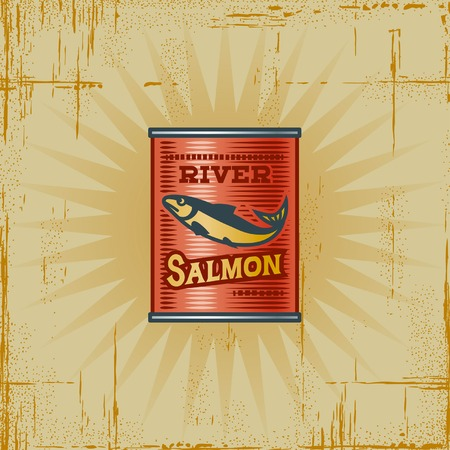 canned food: Retro Salmon Can Illustration