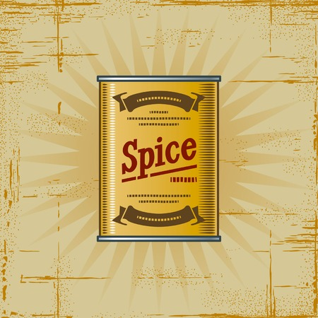 canned food: Retro Spice Can Illustration