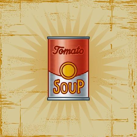 Retro latas de sopa de tomate Ilustración de vector
