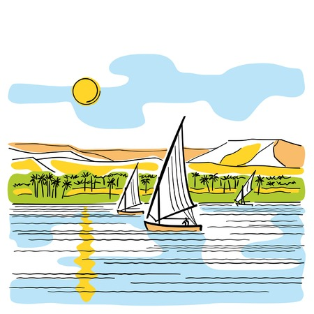 nile river: River Nile in Egypt Illustration