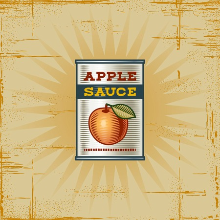 Retro Apple Sauce Can Vector