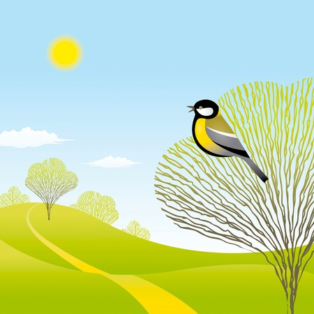 tit bird: Spring landscape with a bird Illustration