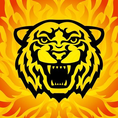 roaring tiger: Tiger head mascot Illustration