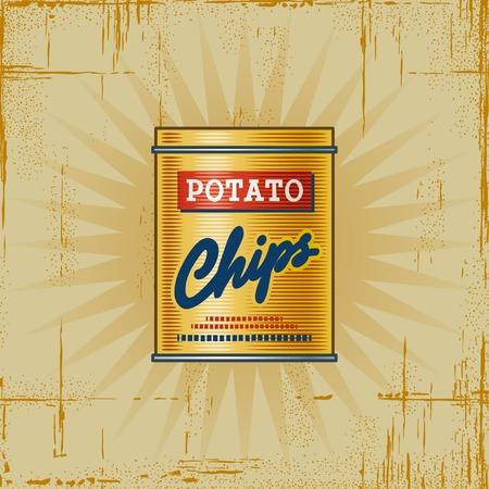 Retro Potato Chips Can Vector