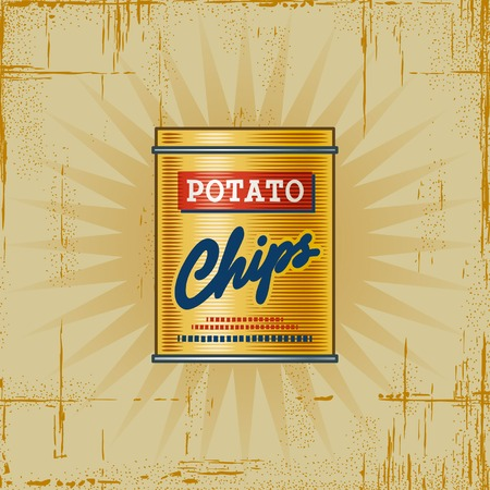 canned food: Retro Potato Chips Can