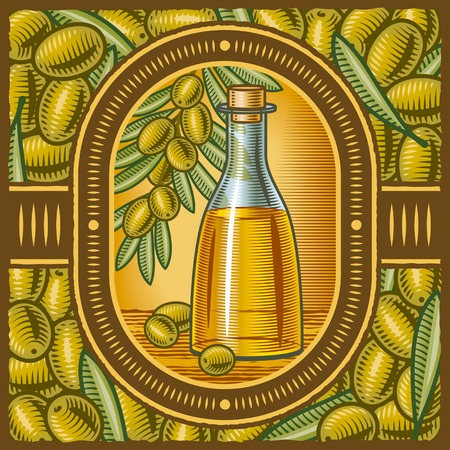 hoja de olivo: Aceite de oliva retro