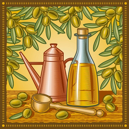 xilografia: Bodegón de aceite de oliva retro