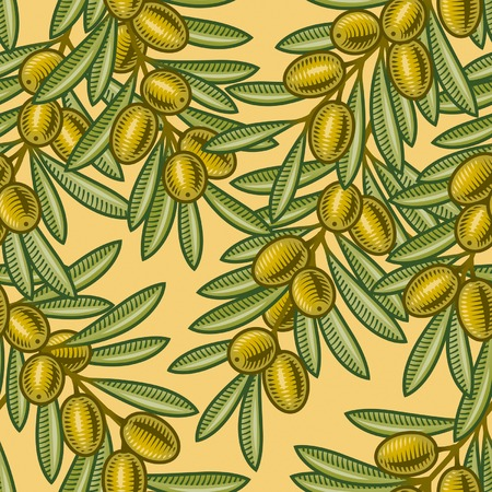 woodcut: Seamless olive background