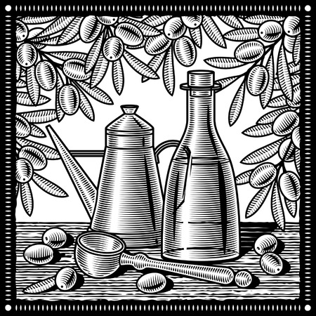 woodcut: Retro olive oil still life black and white