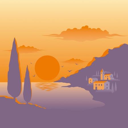 Puesta de sol mediterráneo  Ilustración de vector