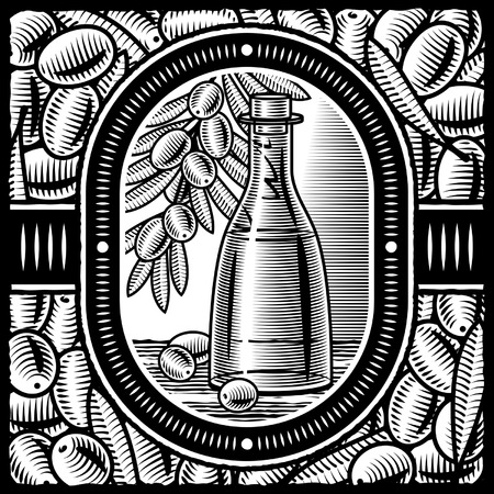 olive farm: Retro olive oil black and white
