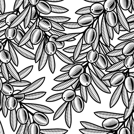 woodcut: Seamless olive background black and white