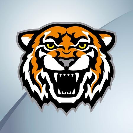 dientes caricatura: Mascota de cabeza de tigre