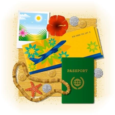 billets d avion: Voyage tropicales still life