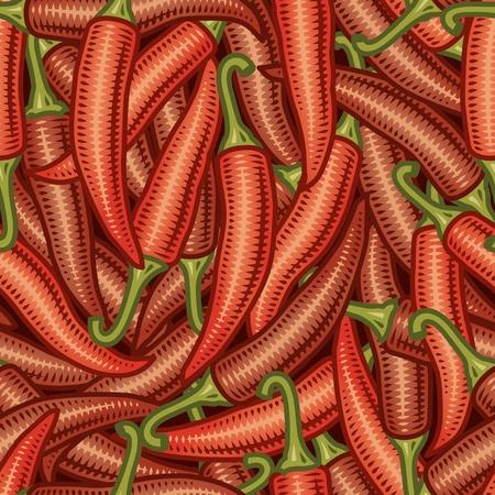 cayenne pepper: Seamless chili pepper background Illustration
