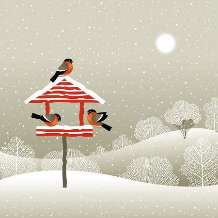 birdhouse: Birdfeeder in winter forest Illustration
