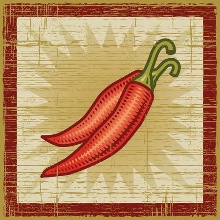 woodcut: Retro chili pepper
