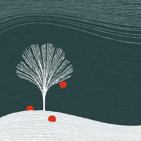Winter apple tree Vector
