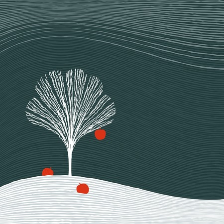Winter apple tree Vector
