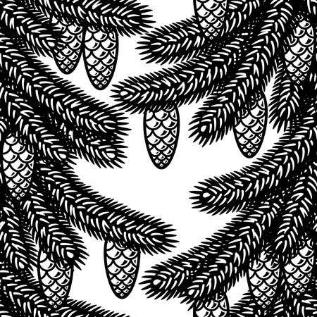 black and white cone: Seamless spruce background black and white Illustration