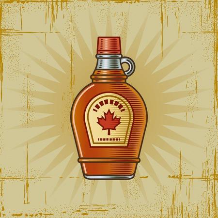 maple syrup: Retro botella de jarabe de arce Vectores