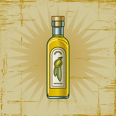 Retro Olive Oil Bottle Vector